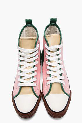 COMME DES GARÇONS HOMME PLUS Pink Leather Tri-Color High Top Sneakers