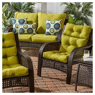 Solid Outdoor High Back Chair Cushion, Pier One Outdoor Furniture Cushions