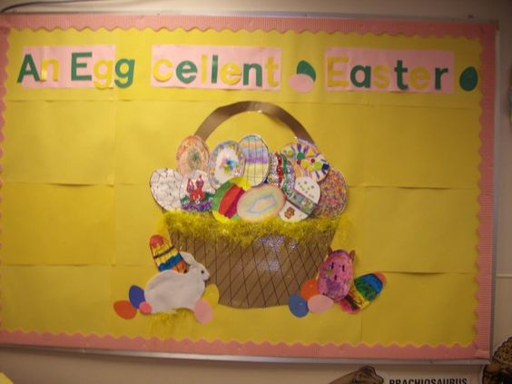 Easter Bulletin Board from my K4 classroom...all the kids and parents decorated an egg and brought it to school
