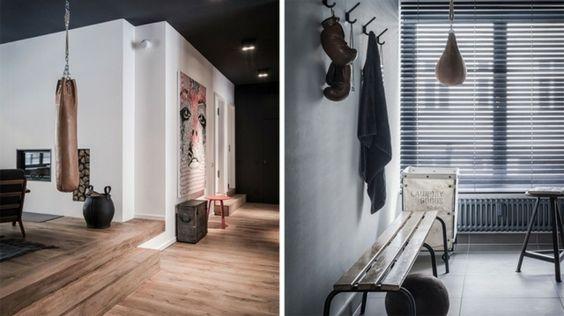 graue Wände mit Holzboden moderne Wohnung mit Retro Flair