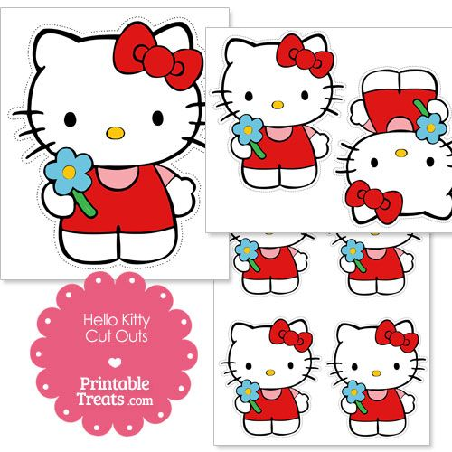 Free cut outs of hello kitty holding a flower from for Hello kitty cut out template