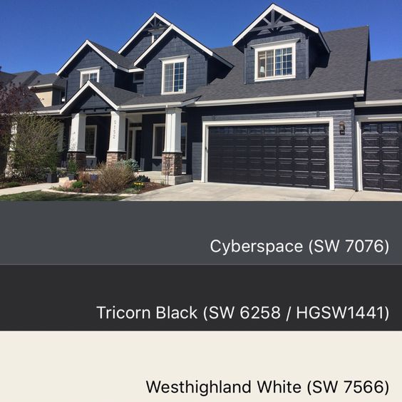Sherwin Williams Paint Colors Cyberspace 7076, Tricorn Black 6258,  Westhighland White 7566. House Color SchemesHouse ...