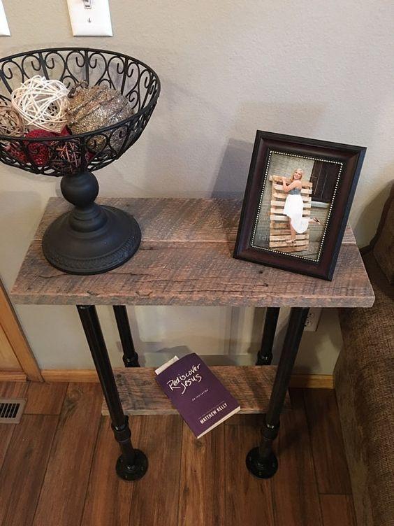 Table de canapé rustique bois palette meuble par NCRusticdesigns