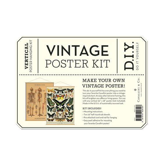 Vertical Wood Hanging Poster Kit Vintage Style Wall Decor Hanging Posters Diy Vintage