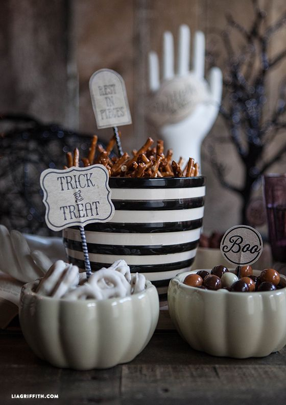 We are throwing an elegant and stylish yet gritty and grim party for Halloween. Enjoy the printable food labels. .