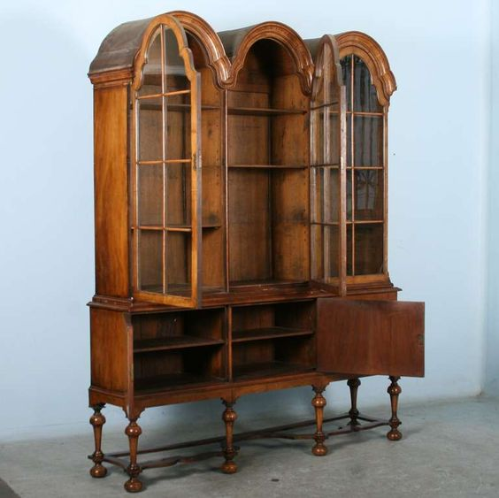 Antique William and Mary Bonnet Top China Cabinet, Circa 1800's