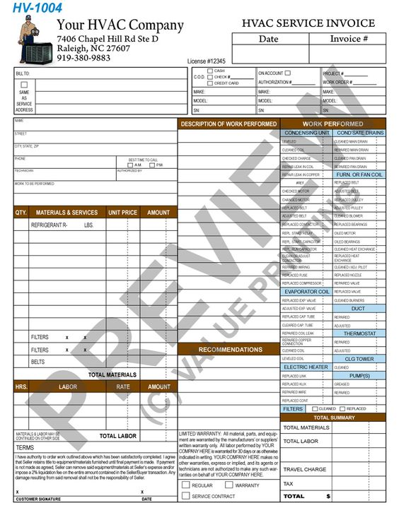 HVAC Flat Rate Service Ticket HVAC Pinterest Flat rate and - printed invoices