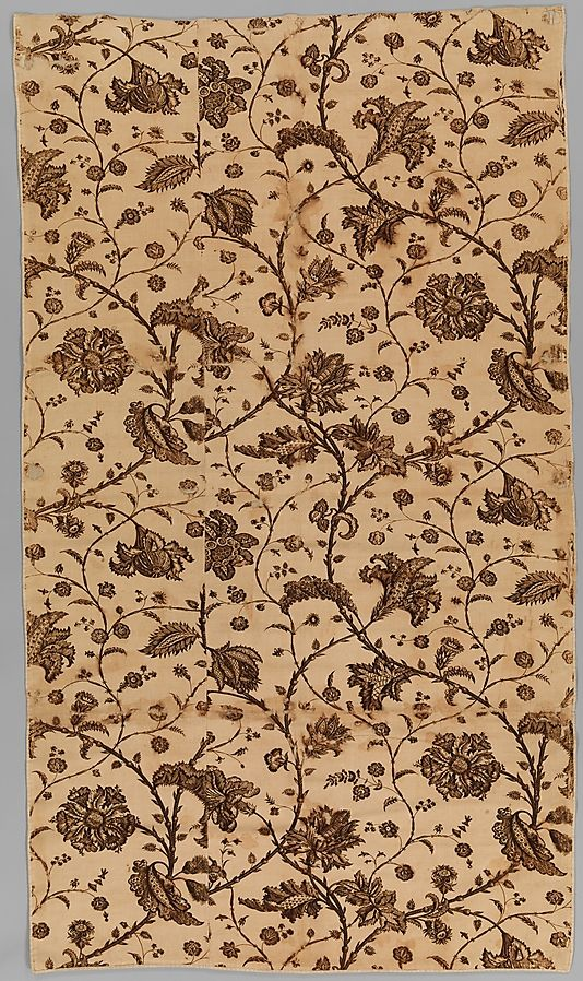 Fabric fragment. English, ca. 1780. Printed cotton. From the Met: 23.216
