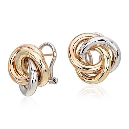 This beautiful classic style is forged of 14k white, rose and yellow gold. Secured by an omega closure, these love knot earrings are sure to impress.