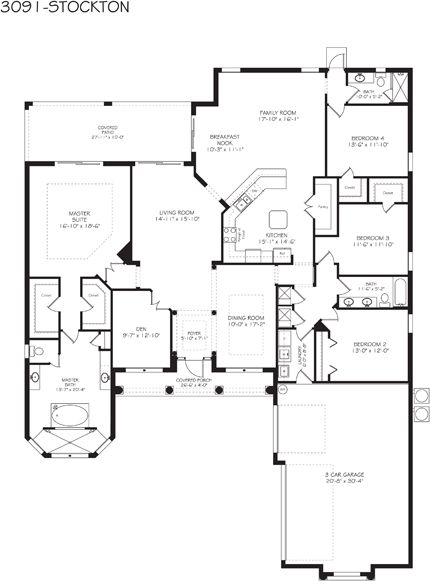 Stockton grande floor plan 1 story 4 bedrooms 3 baths for 40x40 2 story house plans