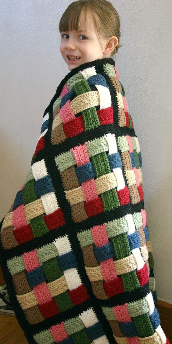 Crocheted basketweave throw
