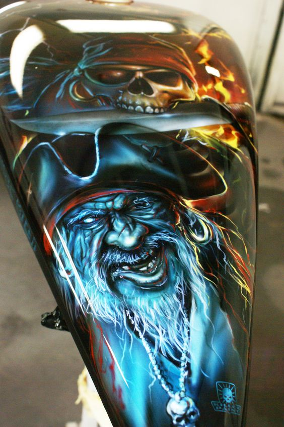 Custom Airbrushed Pirate Themed Motorcycle Airbrushed By Mike Lavallee Of Killer Paint For