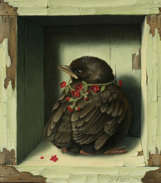 'Mereltje' bird painting by Suzan Visser