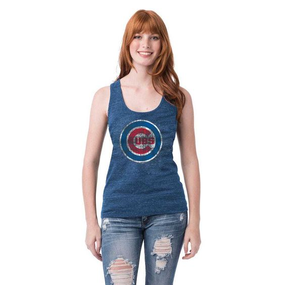 Chicago Cubs Heathered Royal Logo Tri-Blend Tank  #ChicagoCubs #Cubs #FlyTheW SportsWorldChicago.com