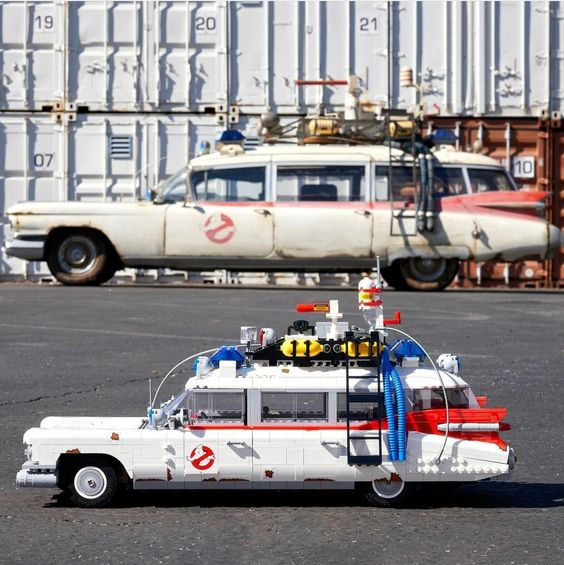Brand New Ecto-1 LEGO set infront of its 1:1 real world inspiration. Side by Side comparison with the 1:1 real life Ecto-1