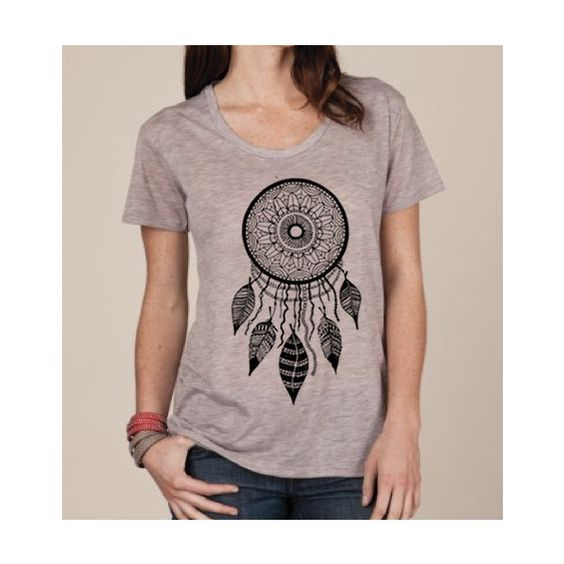 Womens Dreamcatcher Boho Bohemian Slouchy T Shirt Screen Print Top... ($22) ❤ liked on Polyvore featuring tops, t-shirts, grey, women's clothing, screen print t shirts, grey shirt, burnout t shirt, paisley t shirt and paisley shirt