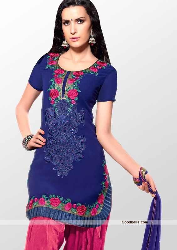 Get a Punjabi kudi look in this stylish Patiala pattern suit designed in blue and pink shade. Kameez is enhanced with floral pattern embroidery at neck and hem. Designer U-shape cut kameez with pleated patch. You can wear it in semi-formal or evening parties. http://goodbells.com/salwar-suits/designer-pattern-blue-shade-salwar-kameez.html