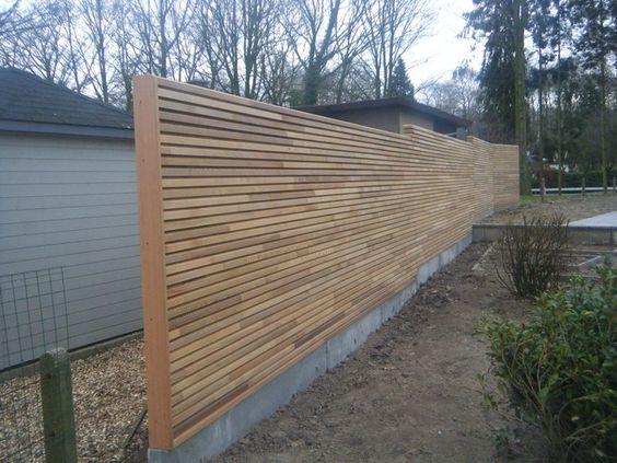 Een beton met hout afsluiting plaatsen kan soms aardig wat kosten ontvang gratis prijs advies - Overdekt terras in hout ...