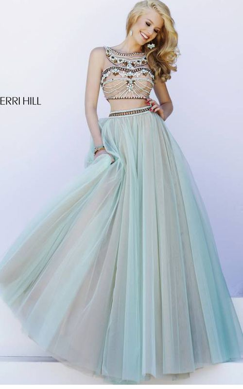 2015 Mint Sherri Hill 11271 Two Piece Tulle Ball Gown