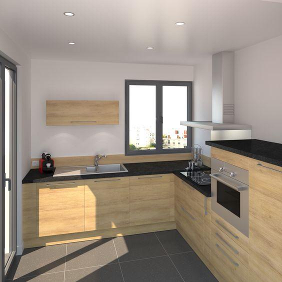 Cuisine tendance bois modèle HOSTA Chêne naturel Kitchens and Lights
