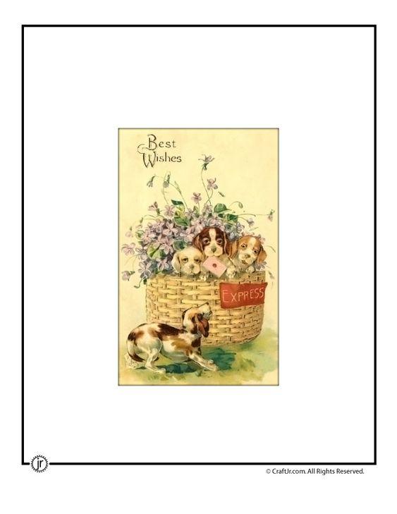 Printable Vintage Postcards – General Greetings Vintage Puppies Printable Vintage Postcard – Craft Jr.
