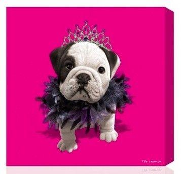 tableau deco chien bouledogue teo queen rose fushia 24 24cm id e deco chien. Black Bedroom Furniture Sets. Home Design Ideas