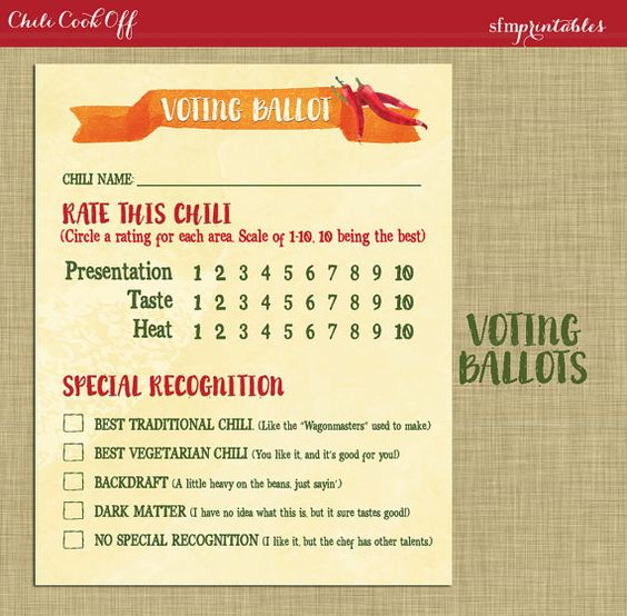 Instant Download! Chili Cookoff Voting Ballot / Invitation Printable DIY Chili Bundle / Hot Pepper and Chili Pot Theme / Fall Party by sfmprintables