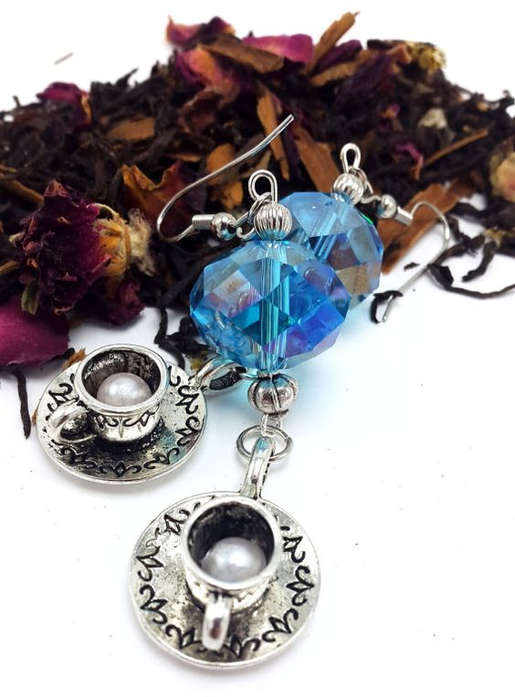 Teacup & Saucer Blue Prism Earrings  Nickel Free by AQuarterToTea