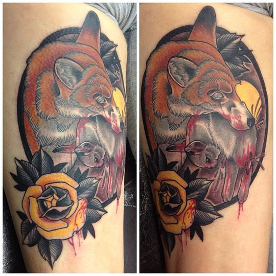 Neo traditional fox and rose tattoo by Drew Romero - #NeoTraditional #Tattoo #Fox #Rose