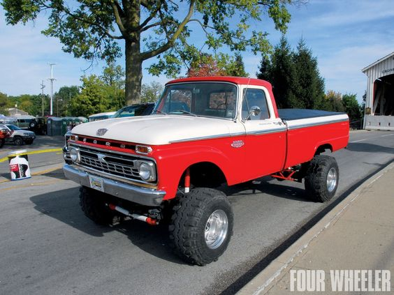 Chrome, red, white, wheel, 1964 f100 4x4 - ThingLink