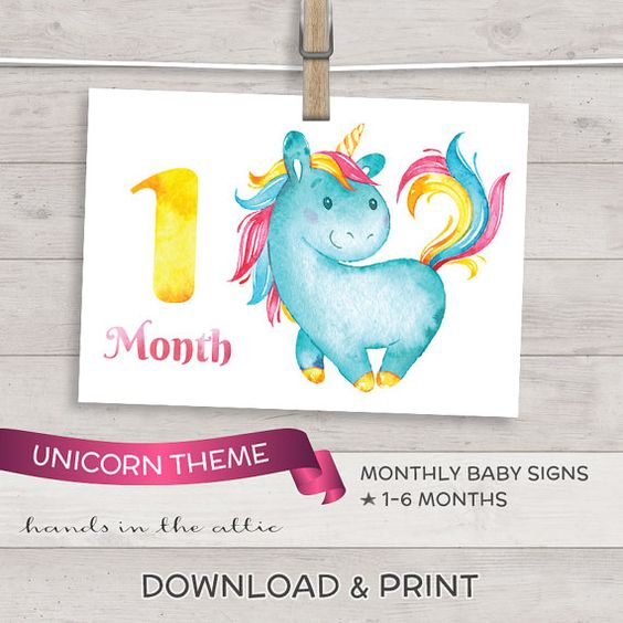 Monthly baby photo signs for baby diy baby photo props - unicorn MONTHS 1 to 6 - baby photo cards PRINTABLE baby milestone digital file by HandsInTheAttic