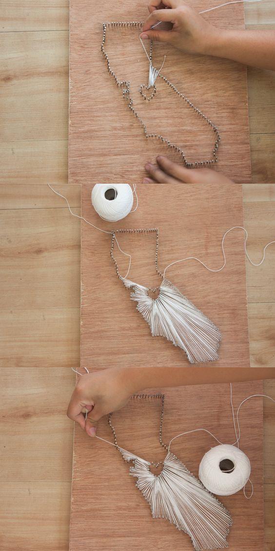DIY String Art by State | Easy Wall Art Ideas by DIY Ready at http://diyready.com/diy-crafts-string-art-tutorial