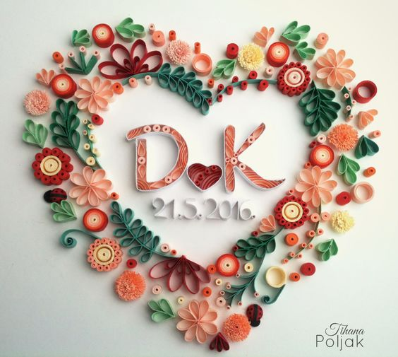 Quilled wreath quilled heart quilled letters quilling for Quilling heart designs