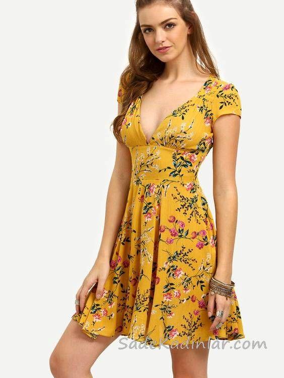 2020 Yazlik Kisa Elbise Modelleri Sari Kisa V Yakali Dekolteli Kisa Kollu Cicek Desenli Elbise Modelleri Elbise Mini Elbiseler