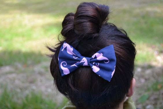 Sea Horse Hair Bow  Blue and Pink Sea Horse by LANDandSEAbowtique