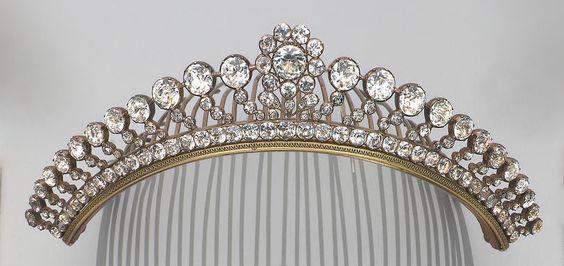Antique Tiara (19th c.; paste gemstones, brass).