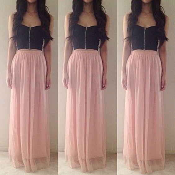 Dress - Dress skirt- Black crop tops and Long prom dresses