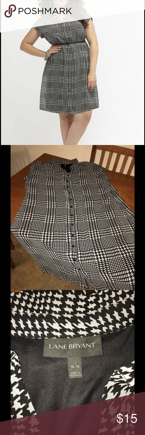 Lane Bryant 14/16 Houndstooth Shirt Dress Shirt style dress.  Houndstooth print.  Top layer is sheer, lined though.   Size 14/16.  Belt not included!   Lane Bryant.  Great condition!   Important:   All items are freshly laundered as applicable prior to shipping (new items and shoes excluded).  Not all my items are from pet/smoke free homes.  Price is reduced to reflect this!   Thank you for looking! Lane Bryant Dresses