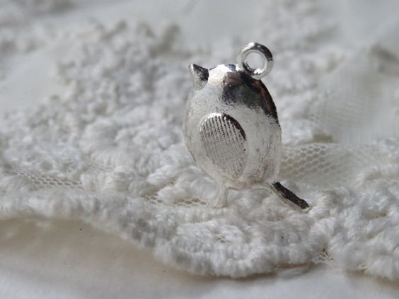 5 Vintage Silver Bird Charms Small 3D Puff Miniature by BuyDiy, $4.99