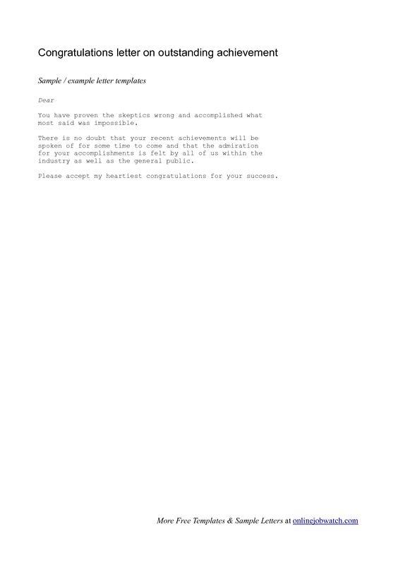 Achievement Congratulations Letter - Example Of A Congratulations