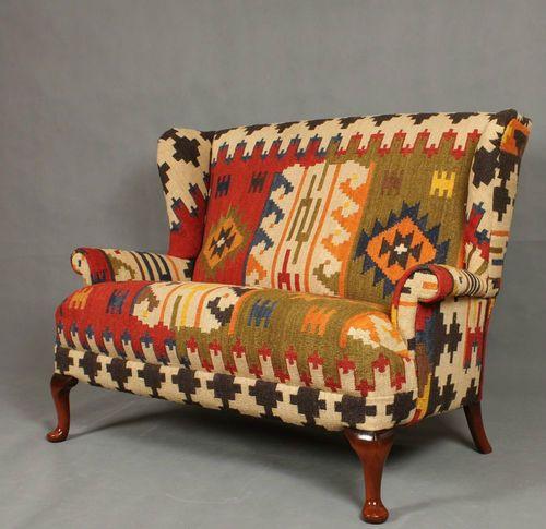 Handwoven Wool Kilim Wingback Sofa Armchair Chair