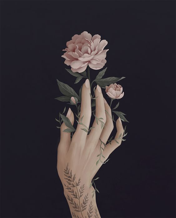 Illustration of my hand with peonies - tattoo by @diana_plescia