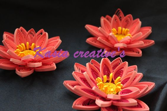 Creative blog: 3D water lily flowers (quilling)