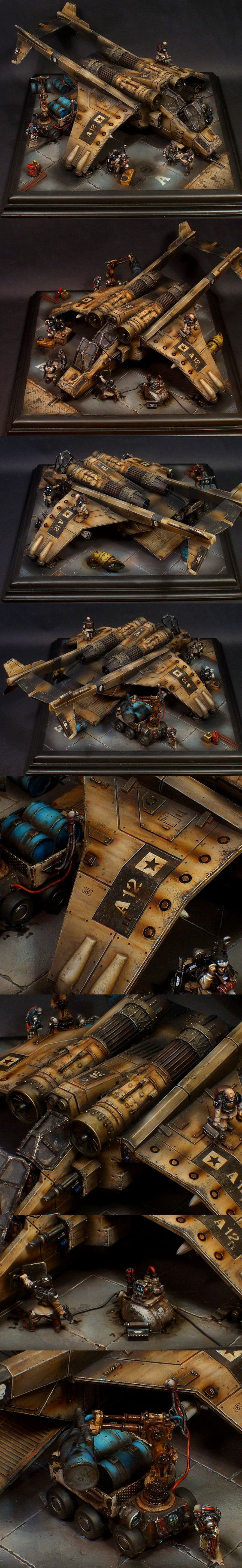 Warhammer 40k Aerobase Diorama, Astra Militarum Valkyrie with repair crew