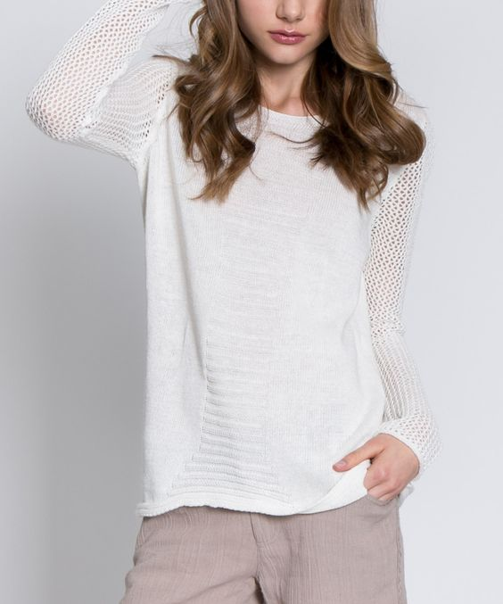 Look at this MONORENO by Mür Off-White Scoop Neck Linen-Blend Sweater on #zulily today!