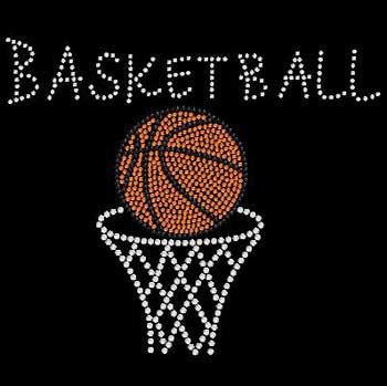 BASKETBALL Hoop and Ball Rhinestone Bling Motif Tshirt Basketball Hoop &…