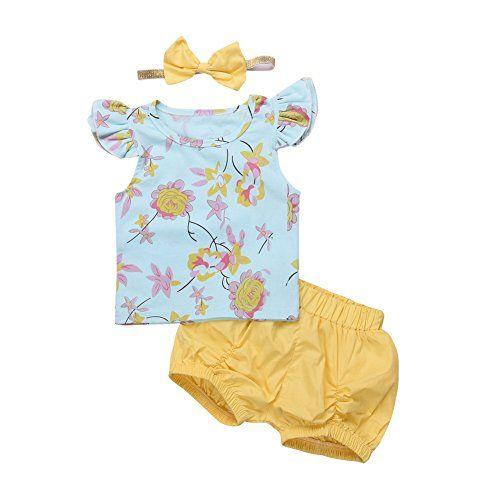 Newborn Baby Girls Clothes Floral T Shirt Tops Shorts Headband 3PCS Outfits Sets