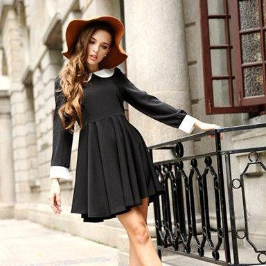 Stylish Pattern High Waist Dresses Black Blue