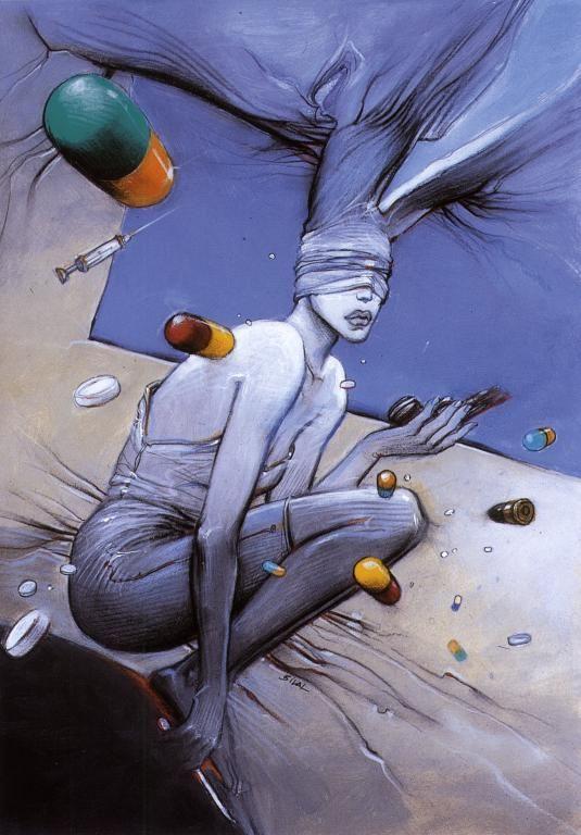 Illustration pour le livre No Suicide, ouvrage collectif, Fondation Children Action (1999) by Enki Bilal