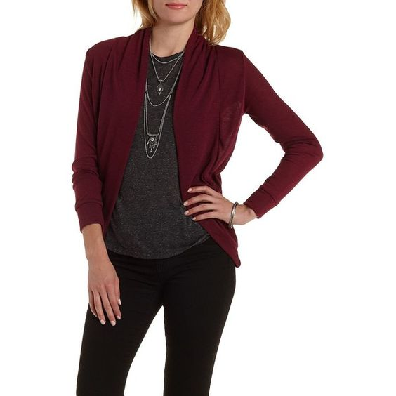 Charlotte Russe Burgundy Long Sleeve Cocoon Cardigan by Charlotte... ($15) ❤ liked on Polyvore featuring tops, cardigans, burgundy, cocoon cardigan, long sleeve cardigan, thick cardigan, long sleeve tops and ruched top